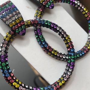 Rainbow rhinestone doorknocker earrings